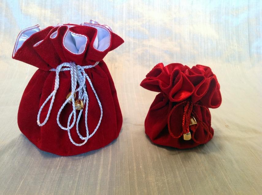 Sacchetto fiore 10447-10448 Raso rosso - scamosciato